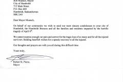 Message of Condolence to Humboldt from La Loche, Saskatchewan B-183