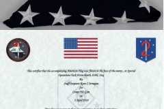 American Flag and Certificate from the United States Marines (2 of 2) B-1877(d,e)