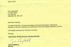 Message of Condolence to Humboldt from the RM of Rockwood, Manitoba B-207