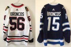 Winnipeg Jets and Chicago Blackhawks Broncos Jerseys (1 of 2)